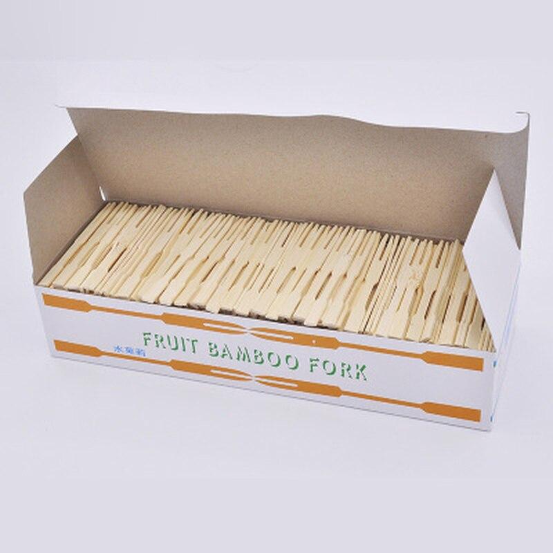 Forquilha de madeira descartável de 1000 pces forquilha de bambu eco-amigável de 9cm para o buffet de frutas