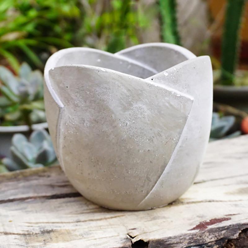 Molde de cemento de silicona para flores, molde maceta hecho a mano, herramienta de decoración artesanal