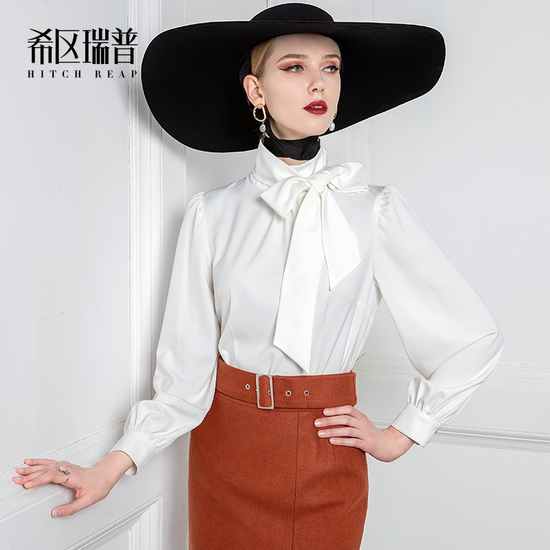 High End Shirt Women'S Design Sense Foreign Style Retro Temperament White Lantern Sleeve Dress