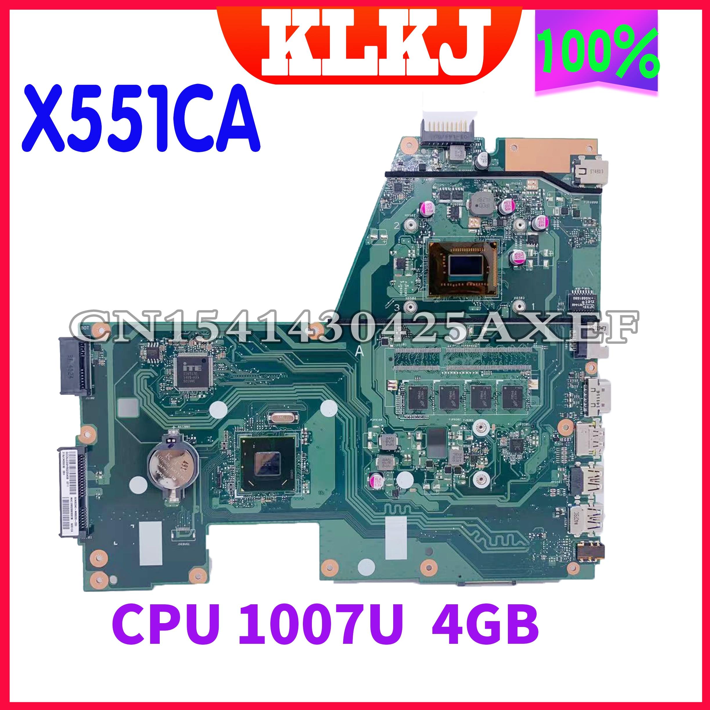 Dinzi جديد X551CA اللوحة الأم الأصلي ل ASUS X551CAP X551C X551CA اللوحة المحمول 1007U 4GB-RAM دون فتحة الذاكرة
