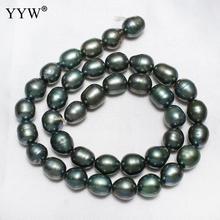 """Süßwasser Perle Perlen Frauen Mode Jewerly Dunkelgrün 9-10mm Oval Natürliche Perle Züchteten Perlen Für Armbänder Herstellung 15 """"Strand"""