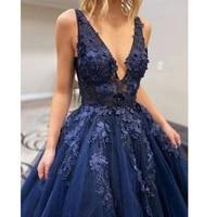 a line v neck evening dresses long luxury 2021 appliques navy blue elegant ball gown sexy tulle beaded plus size robes de soir%c3%a9e