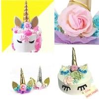 1pcs new unicorn horns cake topper birthday party event supplies kids birthday cake decor baking decro supplies