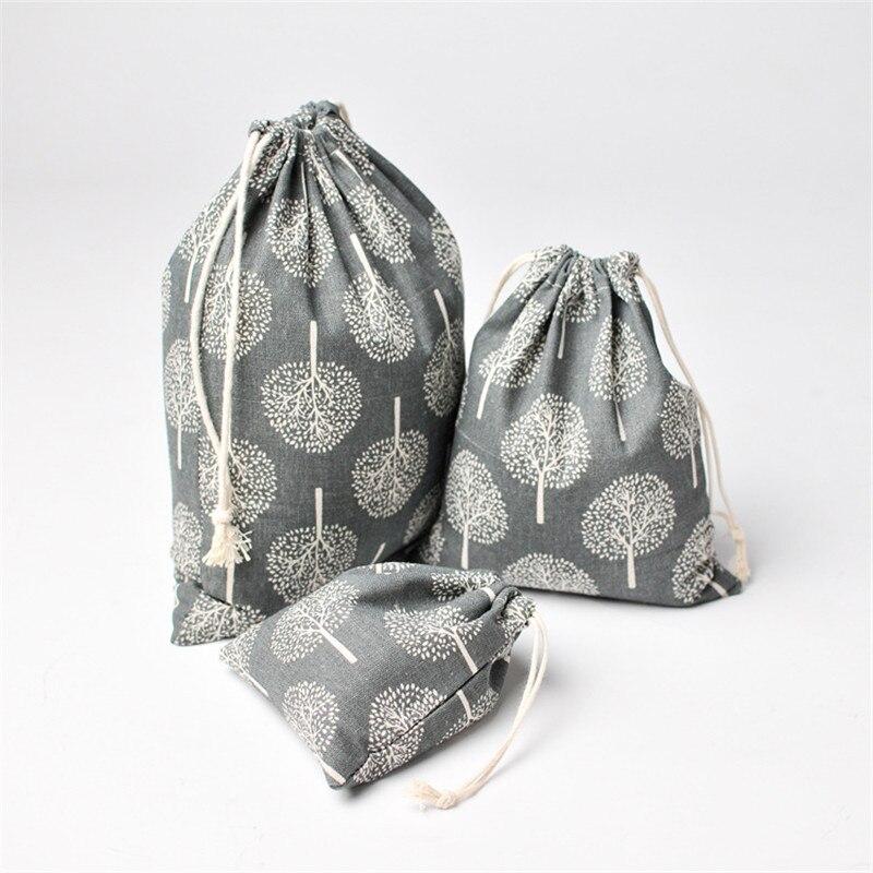 New design retro women's cotton drawstring shopping bag fashion ecological reusable folding grocery cloth underwear bag