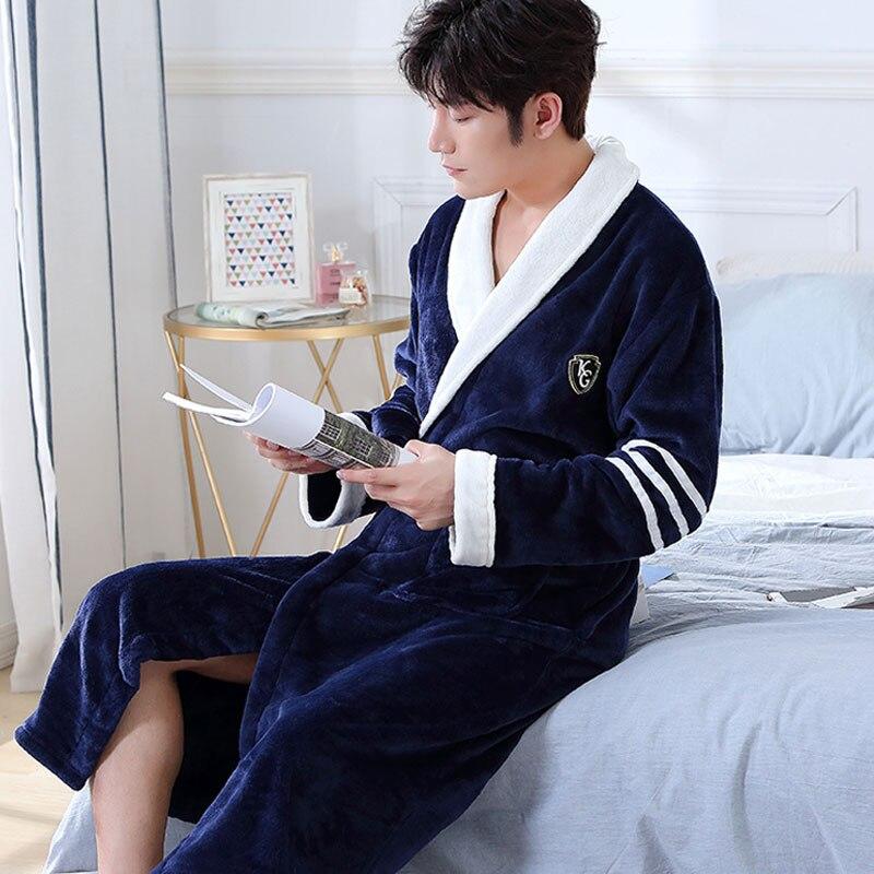 Мужчины повседневный кимоно халат осень зима фланель длинный халат толстый теплый пижамы большие размеры 3XL ночная рубашка мужской свободный дом одежда