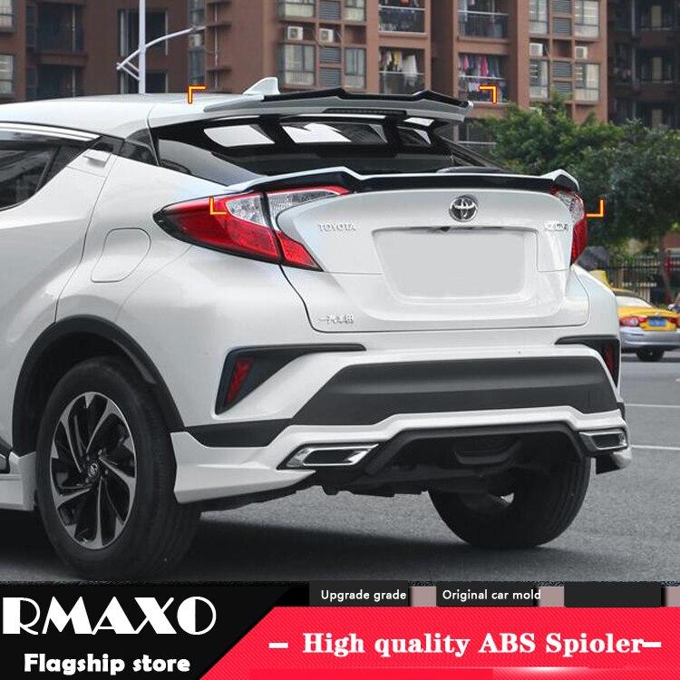 Para CHR Spoiler 2018-2019 Toyota CHR C-HR alerón de techo SPOILER Material ABS alerón trasero de coche con imprimación de Color Spoiler trasero