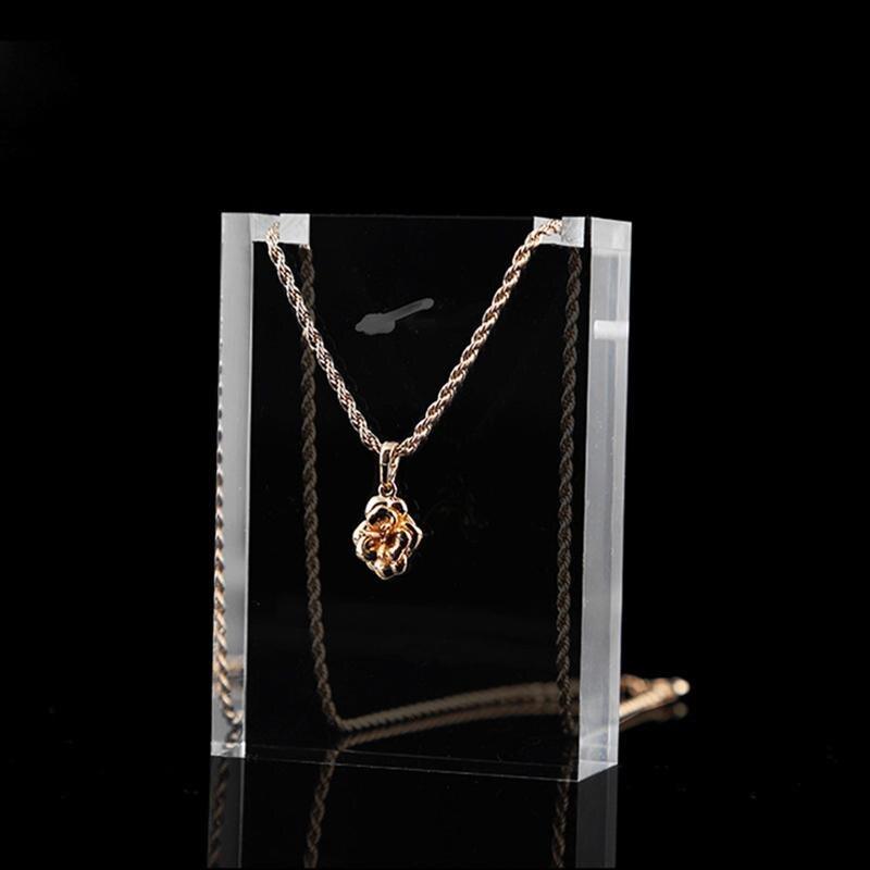Acrílico transparente jewely display rack de armazenamento suporte colar brincos mostrar titular jóias organizador pingente de corrente rack