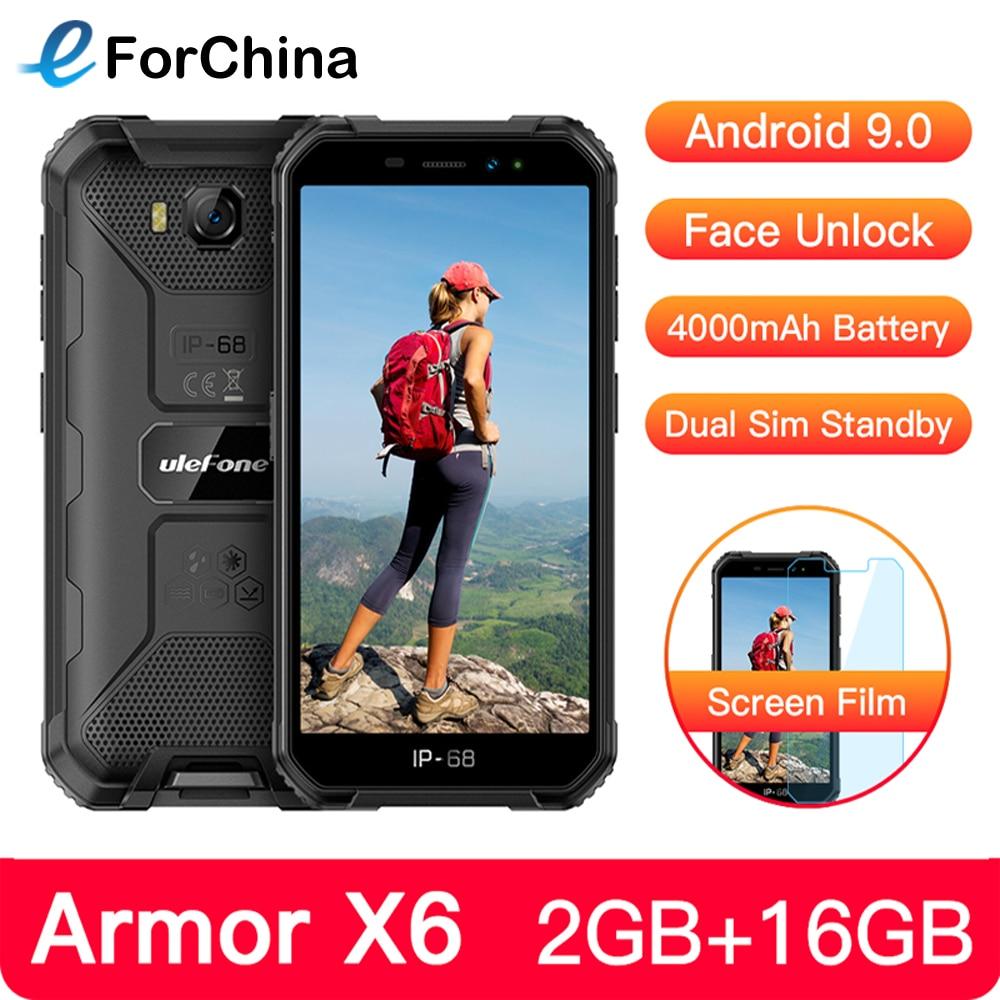 Ulefone Power X6 IP68 прочный Водонепроницаемый мобильный телефон 5 дюйм Android 9,0 MTK6580A/W 4 ядра 2 ГБ + 16 Гб Face ID 4000 мАч 3G смартфон