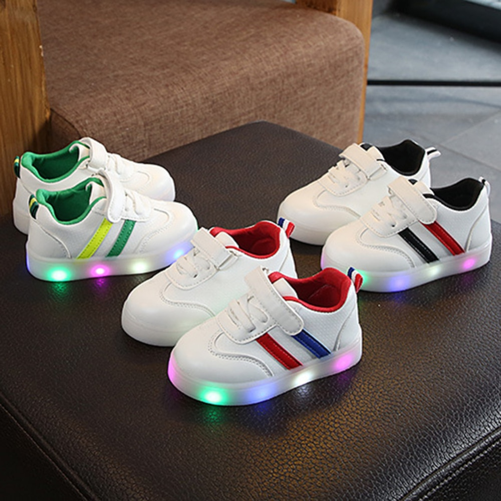 Kids shoes Led shoes Casual Sport Non-slip Running Shoes Sneakers Children Luminous Shoes Boys Girls Stripe Baby Sneakers