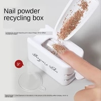 white abs double layer french powder box recycled nail powder storage box portable infiltration powder container nail tool