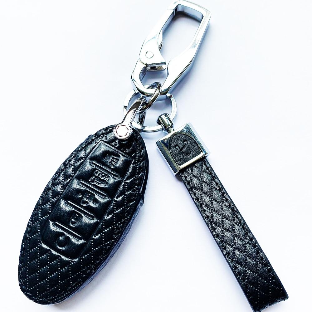 Funda de cuero de estilo diamante para llave de coche, funda de anillo para Infiniti EX FX G37 Q60 QX50 QX70 para Nissan Murano 2016-2017 Altima Maxima