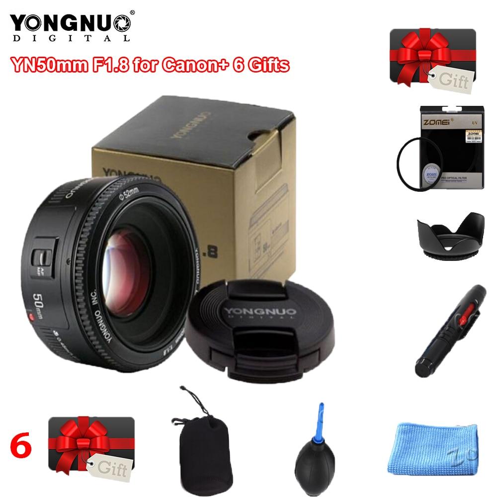 Yongnuo yn50mm yn50 f1.8 ef eos 50mm af mf lente da câmera para canon rebel t6 eos 700d 750d 800d 5d2 5d3 5d mark ii iv 10d 1300d