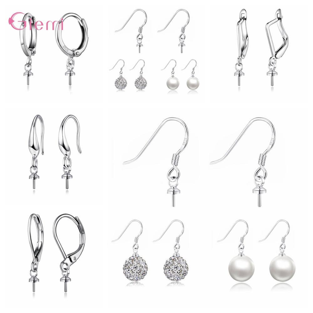 10pcs 925 Sterling Silver Earring Hook Drop Earwire Earrings Fitting Ear Setting Base for DIY Jewelry Making Accessories