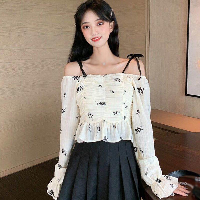 random floral print blouses with choker Fashion Floral Print Women Blouses Autumn Mesh Stitching Slash Neck Sweet Shirts Long Sleeve Casual Blouses