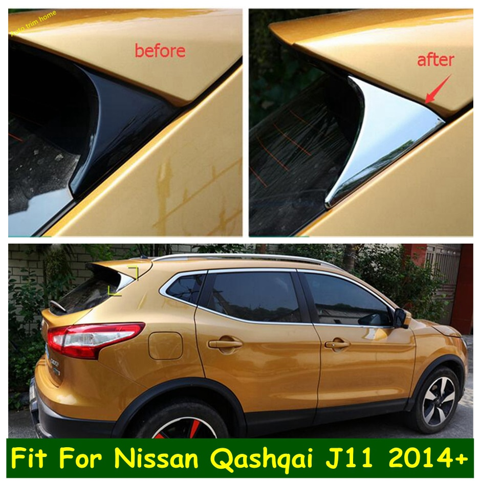 for european version nissan qashqai j11 2014 2015 2016 2017 2018 chrome front bottom bumper molding racing grill trim cover Lapetus ABS Exterior Chrome Rear Triangle Spoiler Wing Cover Trim Kit For Nissan Qashqai J11 2014 2015 2016 2017 2018 2019 2020