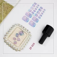 1pc new high quality toe nail sticker with diamond french glitter sequins nail wraps strips easy to wear manicure for women
