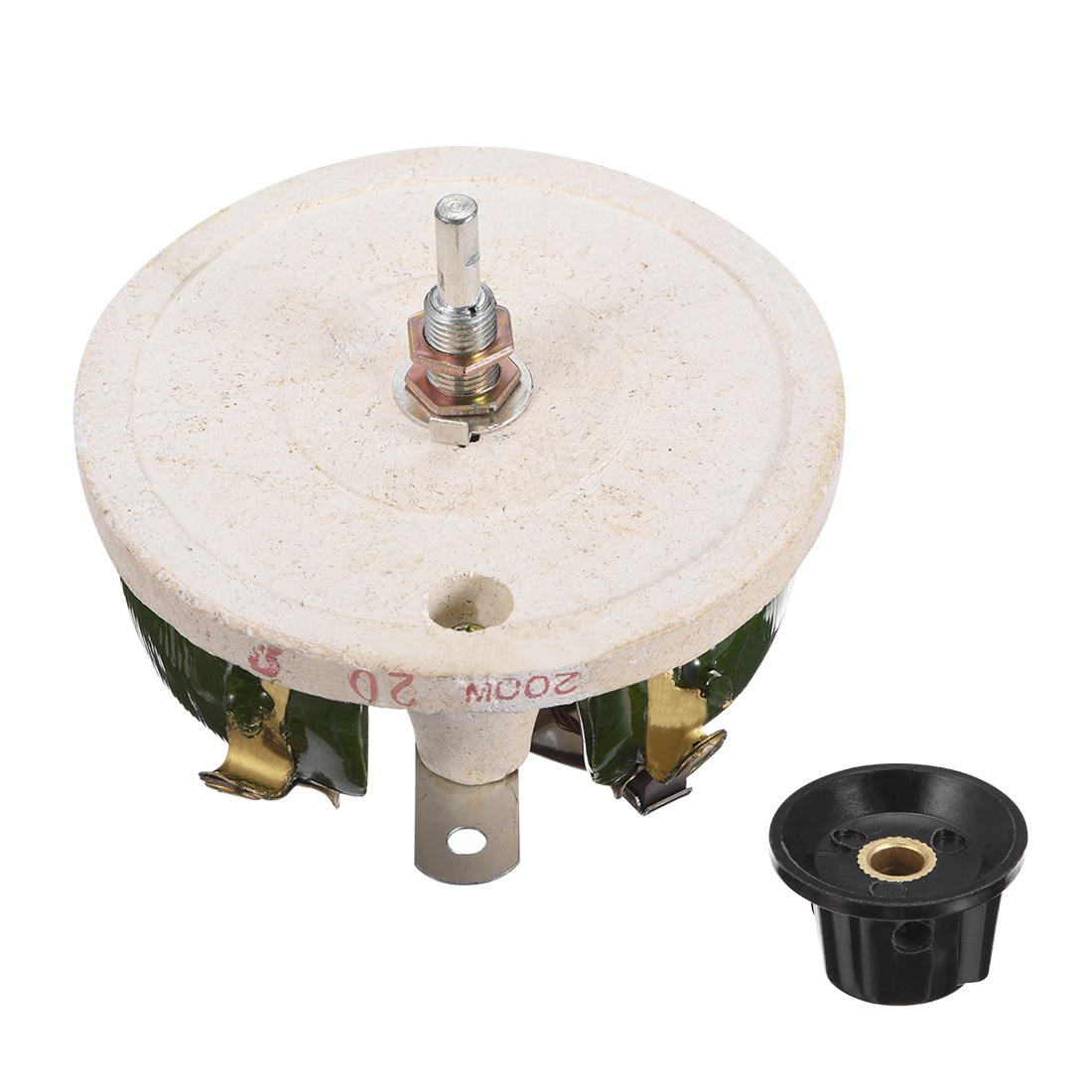 Uxcell-مقياس جهد سيراميك متغير ، 200 واط ، 20R أوم ، مقاوم مقاوم مقاوم مقاوم مع مقبض