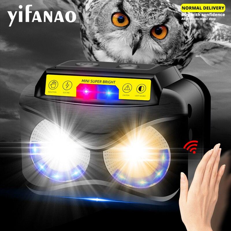 Potente Mini linterna de cabeza XPG + COB luz amarilla potente Usb recargable, lámpara de cabeza con Sensor, carga Micro USB, etc.