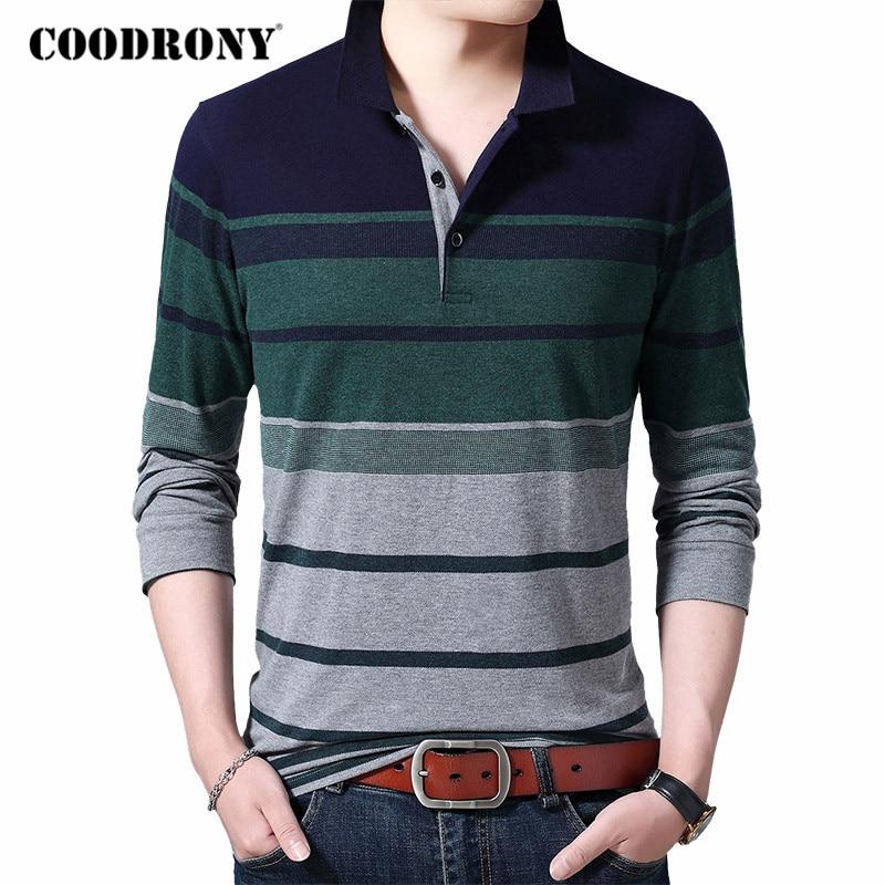 ¡Novedad de 2020! Camiseta de manga larga COODRONY para hombre, Camiseta de algodón 100% de alta calidad C5035