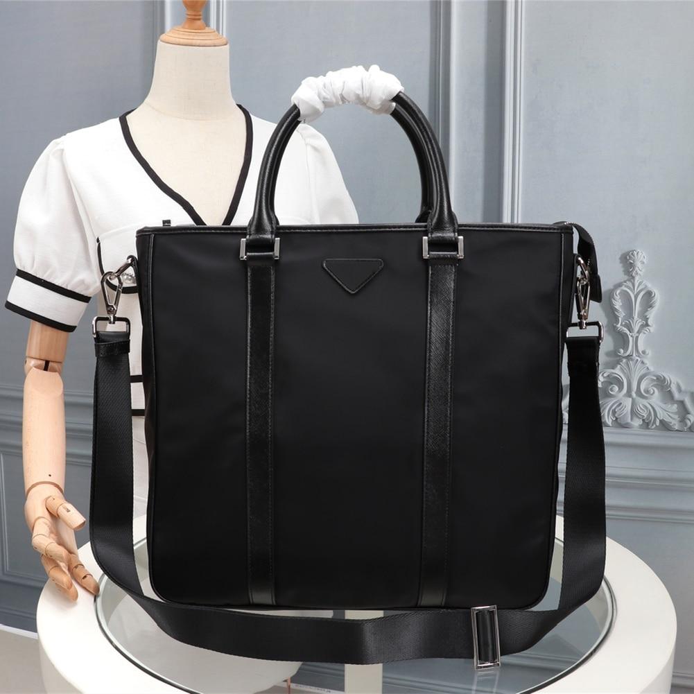 Men's Black Nylon Briefcase Office Business Briefcase Large Capacity Handbag Waterproof Men's Computer Bag