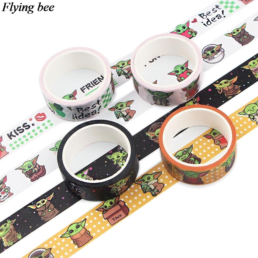 20 unids/lote Flyingbee 15mmX5m Washi Tape de papel Baby Yoda cinta adhesiva DIY etiqueta adhesiva cinta adhesiva X0867