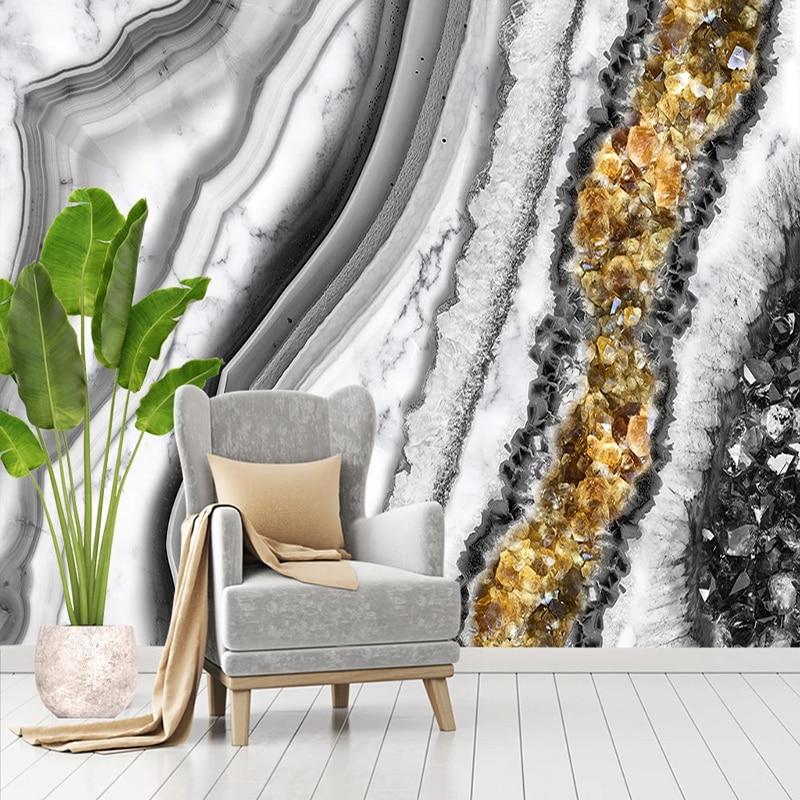 Фотообои, современные роскошные абстрактные мраморные агатные Настенные обои для гостиной, телевизора, дивана, спальни, домашний декор, настенная живопись, Papel De Parede
