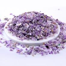 50g purple Natural Amethysts quartz Powder Crystal Gravel Rock Raw Gem stone Mineral Fish Tank Bonsai Decoration Energy Stone