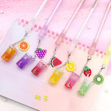 1Pcs Creative Cute Iced Fruit Juice Pendant Gel Pen Pendant Pen Small Fresh Fruit Signature Pen Stationery School Office Gift