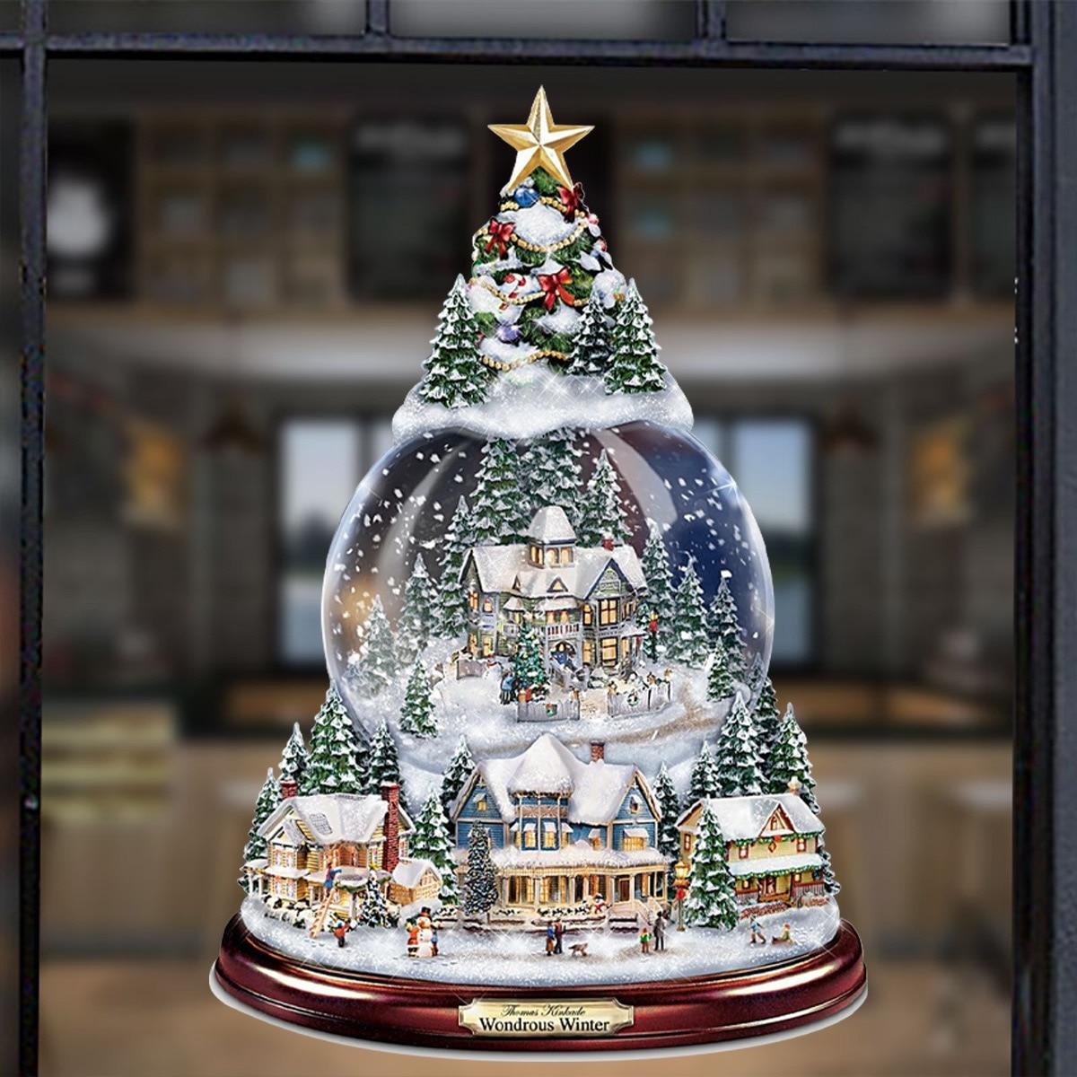 20x30cm Christmas Tree Rotating Sculpture Train Decorations Paste Window Paste Stickers Christmas Decorations Winter Home Decor