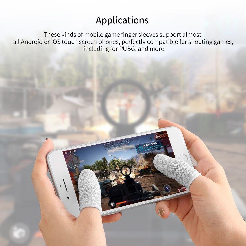 2 pçs jogo móvel luvas de ponta do dedo para gamer sweatproof anti-deslizamento da tela de toque luva do dedo respirável jogo fingertip cover