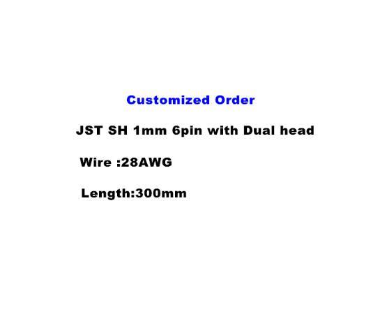 Pedido personalizado JST SH 1mm 6pin 28AWG 300mm con cable de doble cabeza 50 Uds