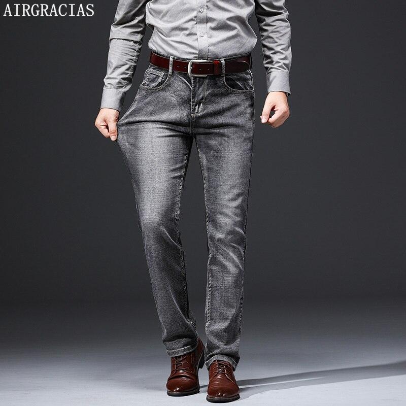 AIRGRACIAS Men Jeans clásico Retro Jean elástico para hombre negocios Casual pantalones vaqueros pantalones largos tamaño 28-38 2019 nuevo