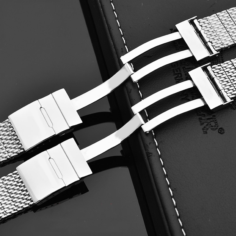 High quality 316L stainless steel strap suitable for Breitling men's wristband strap folding buckle 22mm 24mm Silver Black enlarge
