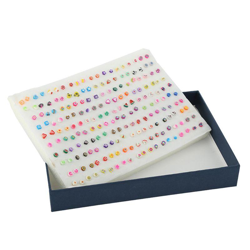 100 Pair Mini Small Plastic Needle Earrings Women Girls Earring Jewelry Handmade Soft Ceramic Sliced Fruit Shape Ear Stud Gifts
