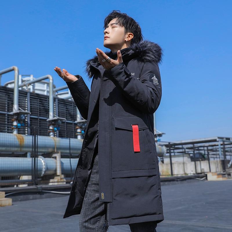 NEW 2020 Parka men's coat winter jacket men's slim thick fur Hooded coat warm medium long cotton padded jacket high quality