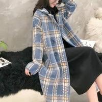 ladies autumn fashion collar elegant coats female woolen warm outwear 2021 new winter women chic long loose casual plaid coats