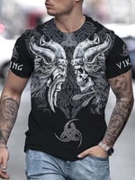 viking skull printed men t shirt summer rock punk tops casual breathable male short sleeve street o neck oversize unisex tees