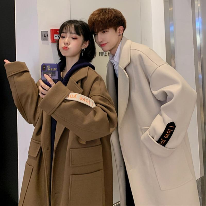Шикарное мужское шерстяное пальто с лацканами, однобортное пальто, свободное шерстяное мужское пальто, повседневные пальто M05