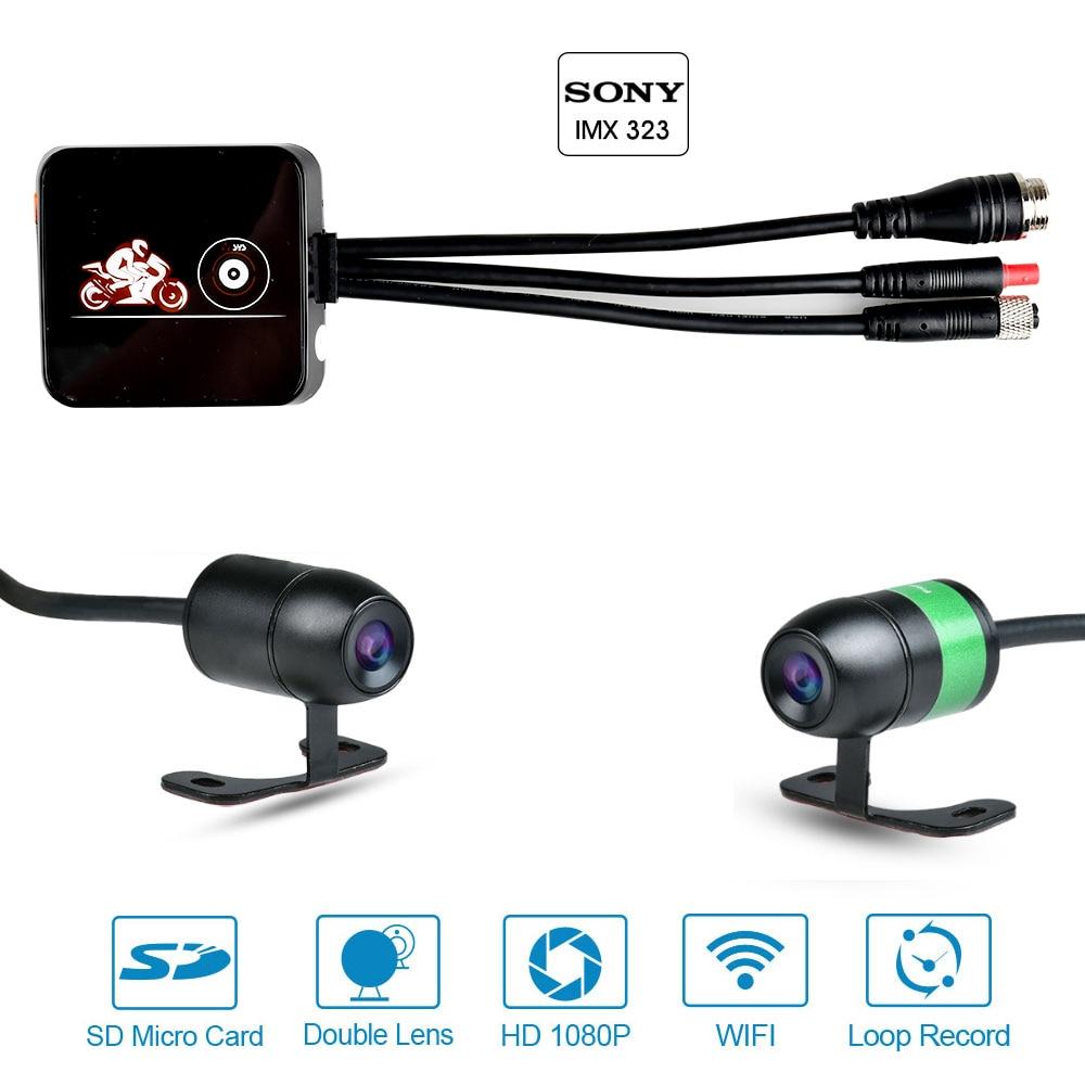 VSYS E6L WiFi motocicleta DVR grabadora 1080P vista delantera y trasera impermeable Moto lente Dual cámara de salpicadero SYS montar Cámara