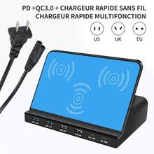 100W Multi-Port USB PD ladegerät smartphone pad Drahtlose lade output 2 Typ-C 6 port 2 USB-A dual QC 3,0 schnelle lade 18W 30W