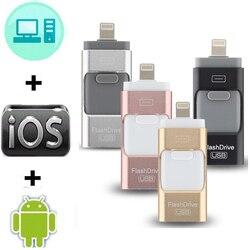 Movimentação 3 da pena de 32gb 16gb 8gb em 1 pendrive de alta velocidade usb 3.0 movimentação 3 do flash de otg usb 128 para iphone/ipad/ios/android/pc 3.0 gb 64gb
