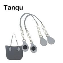 TANQU 1 paire longue poignée de chaîne en cuir PU avec larme goutte fin Double chaîne en métal pour O sac pour EVA Obag femmes sac