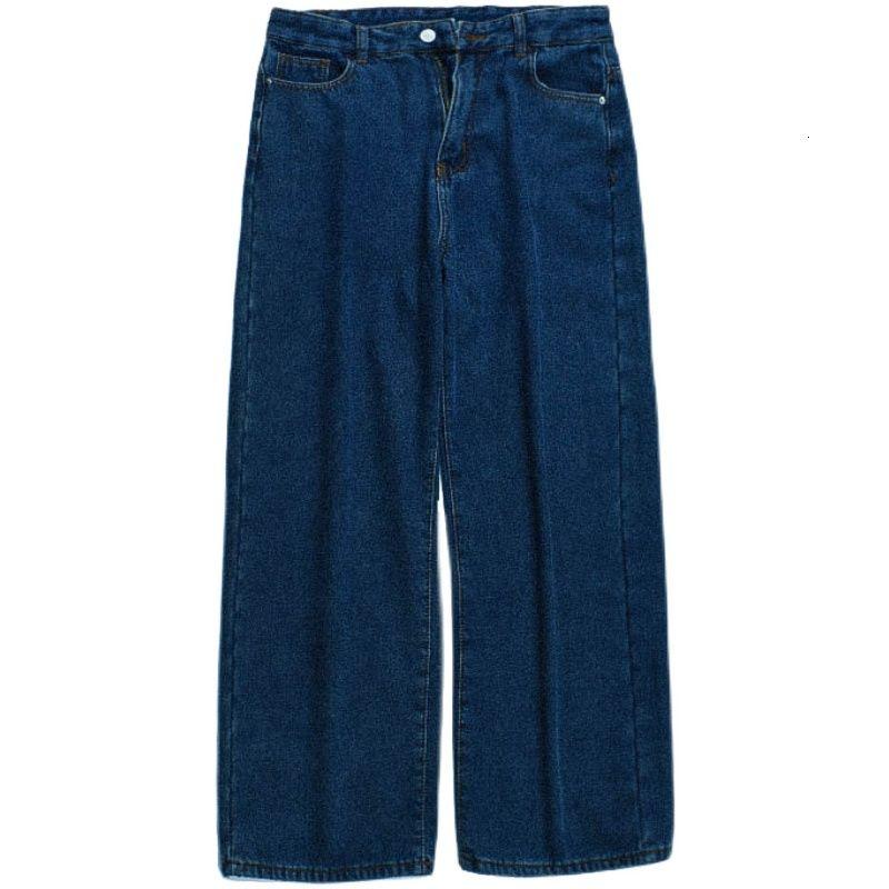 Winter 2020 Plush dark blue jeans Montmartre loose straight casual pants