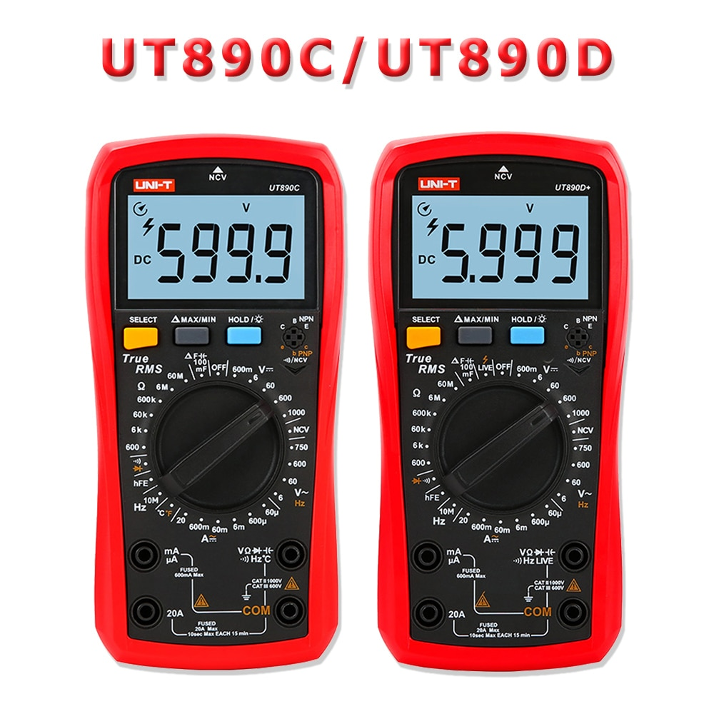 Multímetro Digital de UNI-T valores eficaces verdaderos UT890C UT890D + rango Manual AC DC probador de temperatura de capacitancia de frecuencia