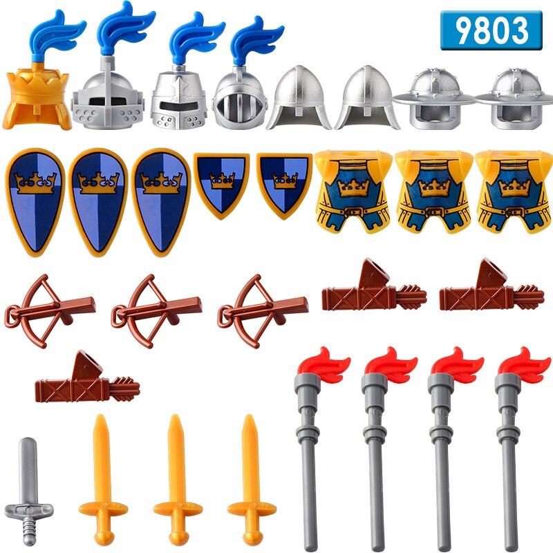 DR.TONG 8 teile/los Mittelalterlichen Burg Königreiche Blau Crown Ritter Reiter Solider Schild Schwert Bausteine Diy Spielzeug AX9803