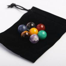 Boule de décoration pour la maison   7 pièces, Chakra naturel, pierre brute, pierre gemme de guérison, perle de cristal minéral, 16mm