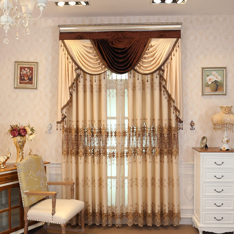 Cortinas bordadas solubles en agua para sala de estar, comedor y dormitorio.