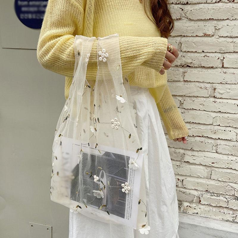 2020 New Handmade Flower Embroidery Hand Bag Casual Tote Mesh Shoulder Bag Lady Travel Shopping Bags Woman Handbags