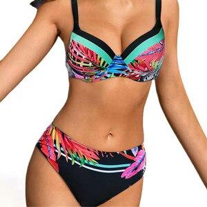 купальник женский Sexy bikini 2021 Women's Solid Color Straps Bikini Double Strap High Waist Split Swimsuit топ женский 5S