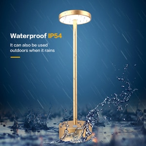 LED Aluminum Alloy Waterproof Rechargeable Desk Lamp Touch Dimming Metal Table Lamps for Bar Living Room Reading Camping Light